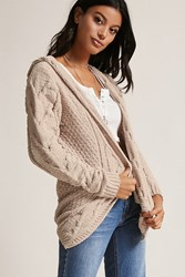 Forever 21 Woven Heart Open Front Cardigan Tan