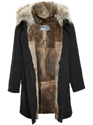Yves Salomon Classic Rabbit Fur Lined Nylon Parka Black