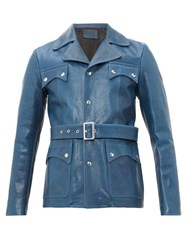 Givenchy Belted Leather Jacket Blue