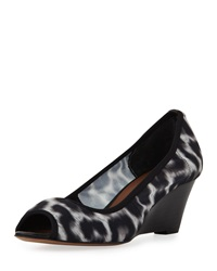 Donald J Pliner Molly Animal Print Stretch Wedge White Black