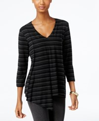 Cable And Gauge Striped Asymmetrical Hem Top Black Charcoal