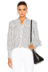 Frame Denim Chloe Top In Blue Stripes White Blue Stripes White