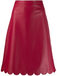 Red Valentino Scalloped Edge Leather Skirt Red