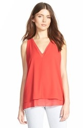 Women's Cooper And Ella V Neck Underlay Tank Deep Red