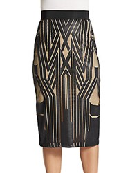 Abs By Allen Schwartz Graphic Print Front Pencil Skirt Black