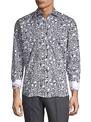 Bertigo Printed Cotton Button Down Shirt White