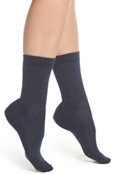Falke Women's Family Crew Socks Navy Blue Mel