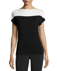 Narciso Rodriguez Crepe Jersey Cap Sleeve Top Black White Black White