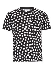 Ami Alexandre Mattiussi Polka Dot Print Crew Neck Cotton T Shirt Black White