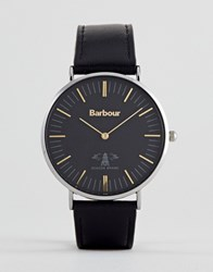 Barbour Bb055bkbk Hartley Leather Watch In Black
