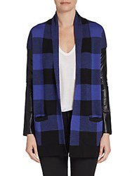 Saks Fifth Avenue Red Buffalo Plaid Mixed Media Cardigan Blueberry
