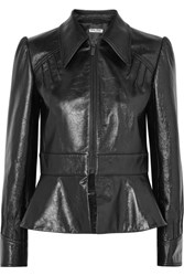 Miu Miu Glossed Leather Peplum Jacket Black