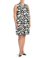 Vince Camuto Plus Floral Printed Dress Ivory