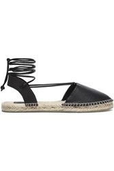 Australia Luxe Collective Lace Up Leather And Canvas Espadrilles Chocolate
