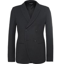 Giorgio Armani Blue Ginza Slim Fit Double Breasted Hopsack Blazer Midnight Blue