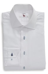 Lorenzo Uomo Big And Tall Trim Fit Dot Dress Shirt White