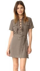 Capulet Lace Up Front Mini Dress Olive