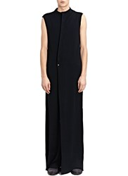 Thamanyah Sleeveless Stand Collar Asymme Black