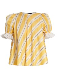 Anna October Puff Sleeve Striped Cotton Top Yellow Multi
