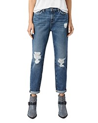 Allsaints Amy Distressed Girlfriend Jeans In Mid Blue