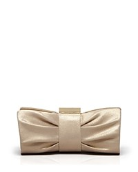 Sondra Roberts Clutch Metallic Pleated Bow Light Gold