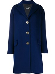Boutique Moschino Oversized Single Breasted Coat Blue