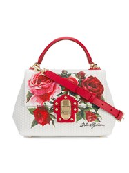 Dolce And Gabbana Small Lucia Rose Print Satchel Women Leather One Size White