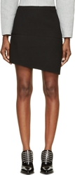 Cnc Costume National Black Wool Asymmetrical Mini Skirt