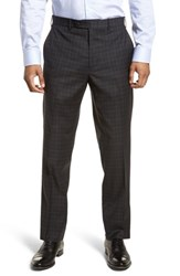 Jb Britches 'S Big And Tall Flat Front Plaid Wool Trousers Mid Grey