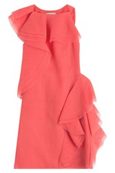Jason Wu Crepe Organza Sleeveless Dress With Asymmetrical Ruffles Pink