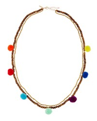 Panacea Double Strand Beaded Pompom Necklace Multi
