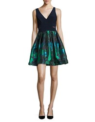 Xscape Evenings Floral Jacquard Sleeveless Fit And Flare Dress