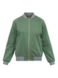 Ted Baker Colour By Numbers Calda Scalloped Trim Satin Bomber Jacket Khaki