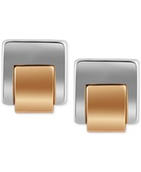 T Tahari Silver Tone Square Stud Earrings