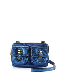 Oryany Monica Metallic Leather Crossbody Blue