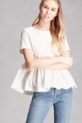 Forever 21 Back Bow Peplum Top White Onerror Javascript Fnremovedom 'Colorid_01