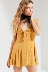 Urban Outfitters Uo Alix Tie Front Skort Romper Gold