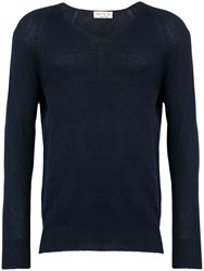 Ma'ry'ya V Neck Jumper Blue