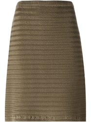 Issey Miyake Wave Pleat A Line Skirt Brown