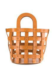 Building Block Medium Woven Basket Tote Brown