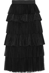 Alexis Miriella Tiered Swiss Dot Tulle And Shell Skirt Black
