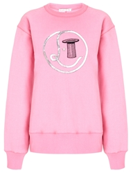 Olympia Le Tan Pink Sequinned Logo Jumper