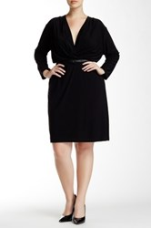 Single Dress Solid Faux Wrap Dress Plus Size Black