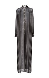 Lanvin Striped Maxi Shirtdress Black