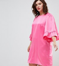 Junarose Frill Sleeve Shift Dress Pink