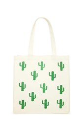 Forever 21 Glitter Cactus Print Tote Bag Beige Green