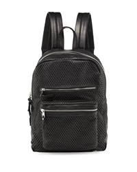 Ash Danica Large Perforated Leather Backpack Black