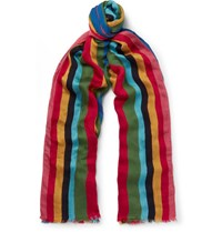 Paul Smith Mali Striped Voile Scarf Red