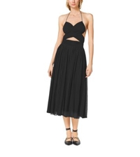 Michael Kors Matte Jersey Cutout Maillot Dress Black