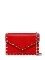 Valentino Garavani Rockstuds Leather Envelop Shoulder Bag Rouge Pur